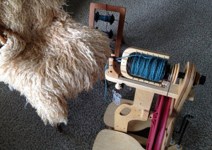 Ladybug spinning wheel, blue yarn and a sheepskin