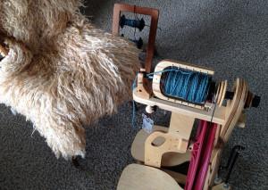 Ladybug spinning wheel, blue yarn and a sheepskin