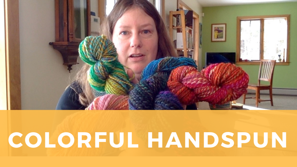 Sarah shows off colorful handspun yarns