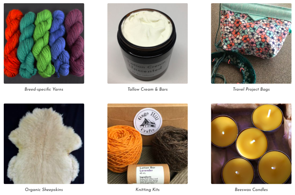 Photo of our products including yarn, knitting kits, project bags, candles, and sheepskins