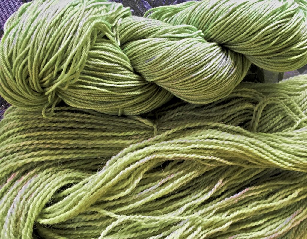Green yarn dyed with black-eyed susans