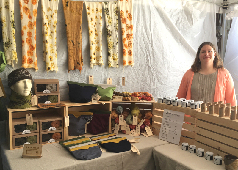 Sarah displays products at the sheep and wool festival